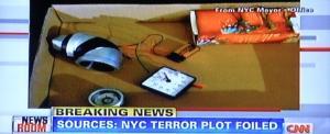 תחנת TV CNN בניו יורק, בשידור, נתפס אדם יחיד עם מטען נפץ מאולתר. צילום: יוסי מטלון